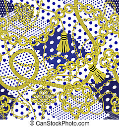 Chain seamless on polka dots background.