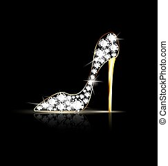 chain shoes - black background and the abstract jewel shoe