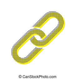 Chain sign. Vector. Yellow icon with square pattern duplicate at
