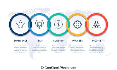 Chain steps infographic. Global business step by step ...