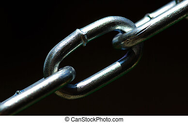 chain -  new chain is isolated on a dark  background