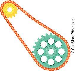 Chain with cogwheels icon, cartoon style