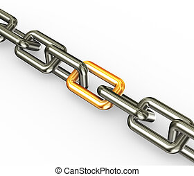 Chain with golden link - 3d render of chain with golden link