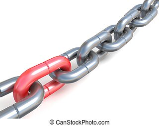 Chain with one red link 3D