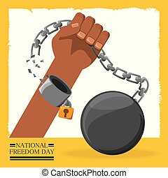 chain with padlock in the hand to celebrate freedom