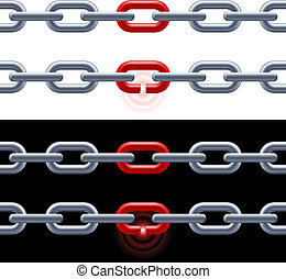 Chain with red link.