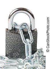 Chain with the lock on white