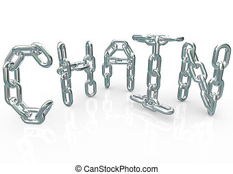 Chain Word in Metal Links Connected Together Team Process