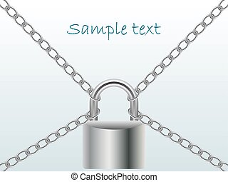Chained and locked background with place for text