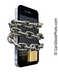 A smartphone wrapped in a metal chain and secured with a brass padlock denoting internet seurity on an isolated background