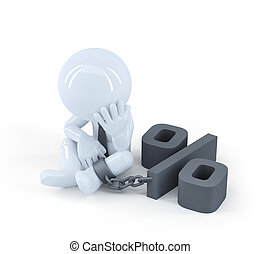 Chained businessman. Debt concept. Isolated on white