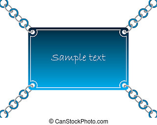 Chained card 5 - Blue card with silver and color chain