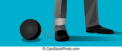 Chained - Conceptual image of a man bound in the ...