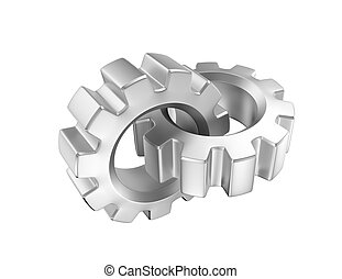 Chained gears - Two chained 3d gears on white