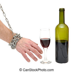 stop alcoholism concept - chained hand reaches for the...
