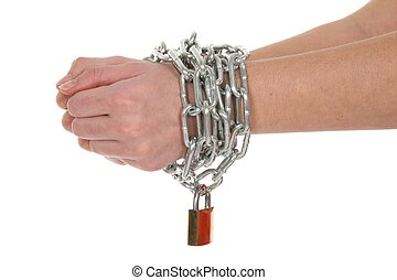 Chained Hands - Hands in a sliver chain and brass padlock...