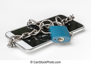 Chained smartphone with lock - mobile phone security