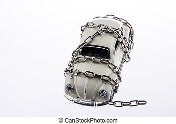 Chained white car on white background