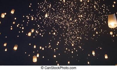 chaing, céu, lanna)in, peng, tailandia, mai, festival(yee, lanterna