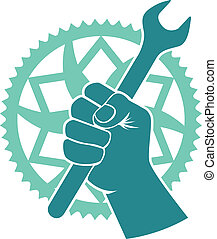 Chaining repair badge - Vector bike repair badge with bike...