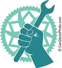 Chaining repair badge - Vector bike repair badge with bike...