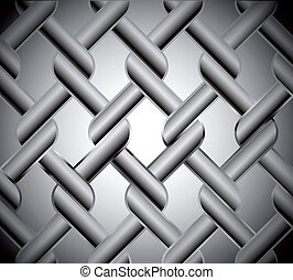 Chainlink fence isolated against on metal. Vector