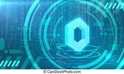 Chainlink symbol rotating on a cyan HUD background. Seamless loop.