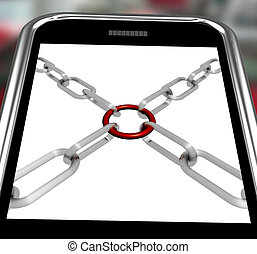 Chains Joint On Smartphone Shows Secure Link