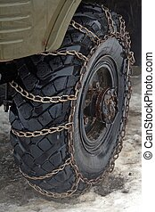 Chains on tyre