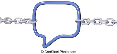 Chains pull to break strong social media link in a 3D speech bubble connection
