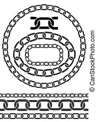 Chains. Vector illustration. Chain icons, parts, circles of chains. Pattern brush for chains