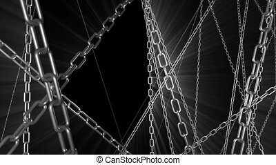 Chains with Light Rays - Chains fly through with light rays...