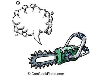 chainsaw-100, cartoon, image
