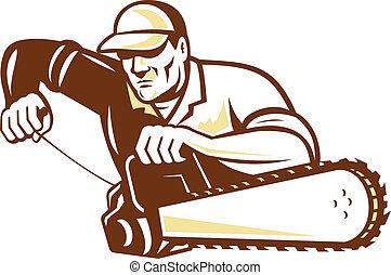 chainsaw, arborist, cirujano, árbol, leñador