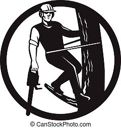chainsaw, chirurg, czarnoskóry, retro, arborist, naszywanka, drzewo, biały, albo
