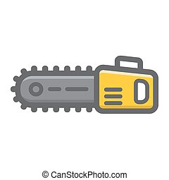 Chainsaw filled outline icon, build and repair, electric saw sign vector graphics, a colorful line pattern on a white background, eps 10.