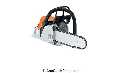 Chainsaw gasoline orange, white and black, modern style,...