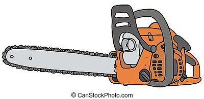 Hand drawing of an orange chainsaw