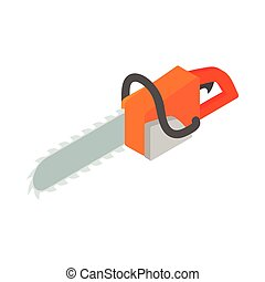 Chainsaw icon, isometric 3d style