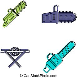 Chainsaw icon set, color outline style