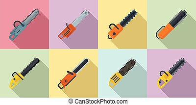 Chainsaw icons set, flat style