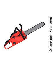 Chainsaw isolated on white background. Professional instrument, working tool. Petrol chain saw. Vector illustration