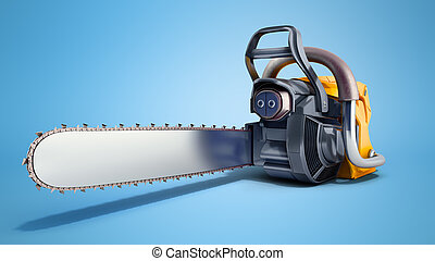 Chainsaw on blue background 3d illustration