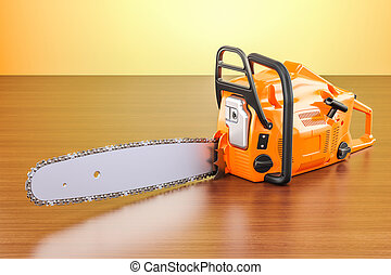 Chainsaw on the wooden table. 3D rendering