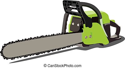 chainsaw realistic vector illustration isolated