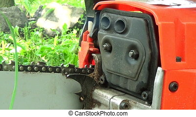 Chainsaw Starting - Close Up