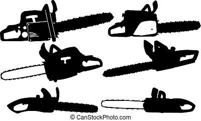 chainsaw - set of different chainsaws