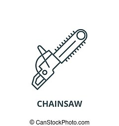Chainsaw vector line icon, linear concept, outline sign, symbol