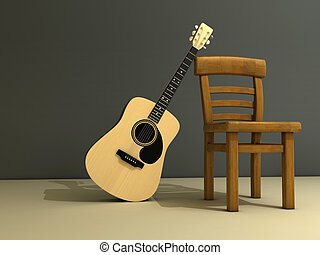 Chair and guitar - A chair and a classic guitar on stage -...