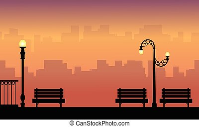 Chair and lamp on the street beauty landscape silhouettes
